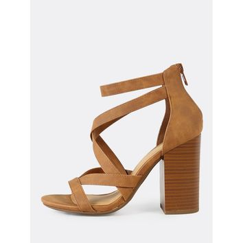 Criss Cross Strappy Open Toe Chunky Heel TAN