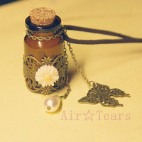 Hot-Retro Victorian Daisy wishing bottles Necklace Chain LP026