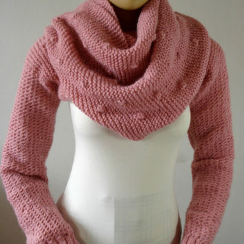 KNITTING PATTERN SCARF with Sleeves - Bubble Stitch Scarf Cowl Pattern - Big Scarf Cowl with Long Sleeves, pdf files Instant Download
