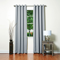 "Basic Solid Grommet Thermal Insulated Blackout Curtains 104""""W X 120""""L Pair - Grey"