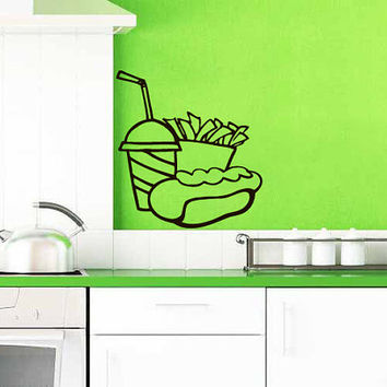 Hot Dog With Drink And French Fries Vinyl Decal Wall Sticker Art Design Kitchen Cafe Room Bedroom Nice Picture Home Decor Hall ki108