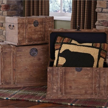 Distressed Wood storage Trunks - Set of 3