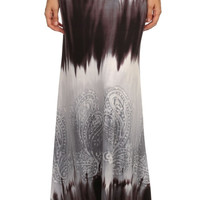 Tie Dye Maxi Skirt - Grey/Brown