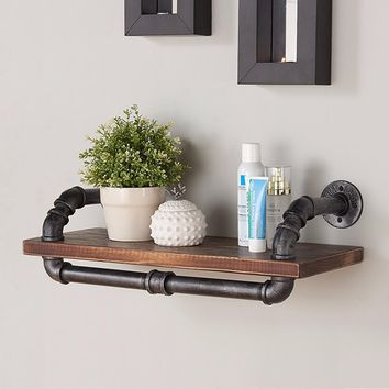 """24"""" Isadore Industrial Pine Wood Floating Wall Shelf in Gray and Walnut-Armen Living"""