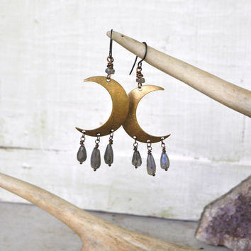 Crescent Moon Labradorite Rustic Gemstone Earrings