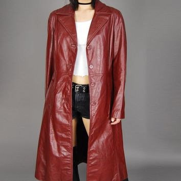 Berman's Leather Fur Lined Trench Coat