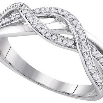 10kt Yellow Gold Womens Round Diamond Infinity Band Ring 1/5 Cttw