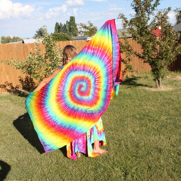 Rainbow Tie Dye Silk Sarong or Tapestry