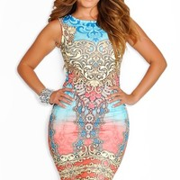 Multi-Colored Fitted Jewel Design Sleeveless Dress