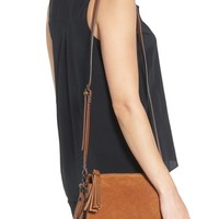 Phase 3 Double Gusset Suede Crossbody Bag | Nordstrom