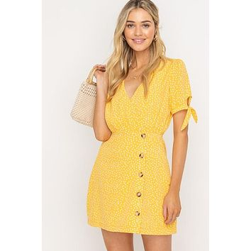 Asymmetrical Buttoned Mini Dress