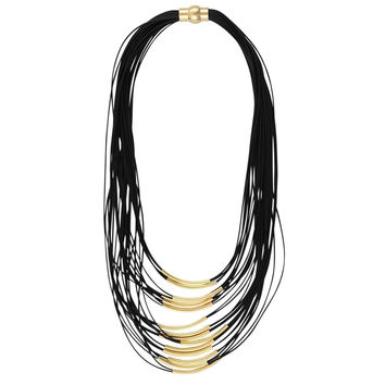Black Cord Multi Layer Necklace
