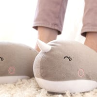 Nari Narwhal USB Heated Plush Slippers