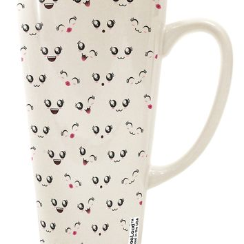 Kyu-T Faces AOP 16 Ounce Conical Latte Coffee Mug All Over Print by TooLoud