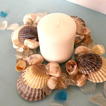 Seashell and Sand Candle Holder, sea shells, sea glass beach glass candle holder candle plate Beach Coastal Nautical Ocean Decor