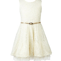 Forever Orchid 7-16 Sleeveless Soutache Dress - Ivory