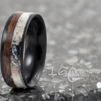 Deer antler ring dyed black maple liner. Bentwood Ring, Wood Jewelry, Antler Ring, wood wedding band, Wedding band, Maple Wood, Bubgina Wood