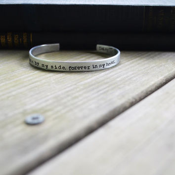 In Memory Bracelet for Pet Owners -  Modern - Pets - Dogs - Cats - Rustic - Looks Like Silver - Hand Stamped  - Under 20  - For Her