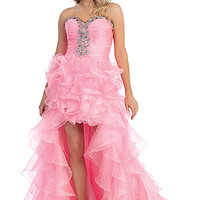 High Low Ruffle Prom Dress with Beading in Pink