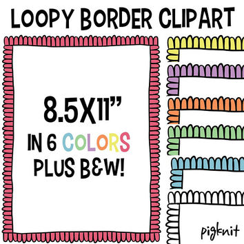 Loopy Border Clip Art, Doodle Border, Loopy Background, Clipart Frame, Clip Art Frame, Doodle Clipart, Scrapbook Border, Page Border Clipart