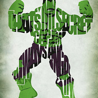 Hulk The Avengers Inspired Typographic Print and Poster