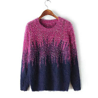 Winter Women's Fashion Round-neck Long Sleeve Patchwork Sea Sweater [8216430529]