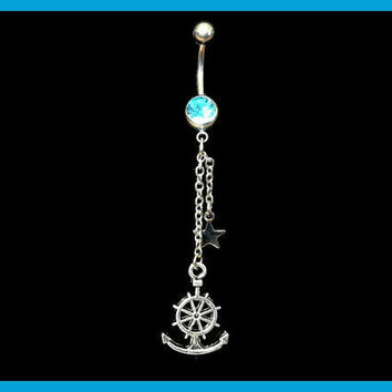 Anchor Belly Ring with Star and Chain