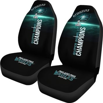 Philadelphia Eagles Car Seat Covers 2pcs Midnight Green Super Bowl LII Champs
