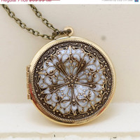 ON SALE Locket Brass Locketfiligree White Flower by emmagemshop