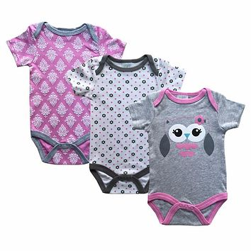 Summer Baby Rompers O-Neck Cotton Baby Clothing Set Fashion Baby Girl Boy Clothes Newborn 3pcs/lot ropa bebes Cartoon Overalls