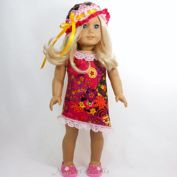 "American Girl 18"" Doll Asymmetrical A Line Dress with Hat in Pink, Red, Green and Yellow"