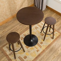 3 Pcs Bar Stool Table Set Indoor Kitchen Dining Cafe Furniture Round Bar Table Chair For Home Restaurant Breakfast Table Wooden