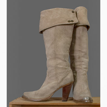 1970s Leather Boots - 70s Beige Suede Knee Boots by Zodiac - Adjustable - Shoe size 8 to 8 1/2