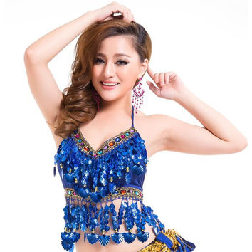 Sexy Handmade Belly Dance Bra Tops Crystal Sequins Beads Bells Peppers Costume