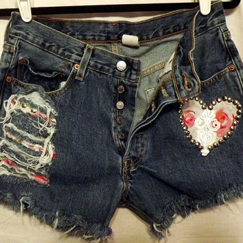 SaleStudsLace Rose Heart Cut Off ShortsVintage High by twazzy