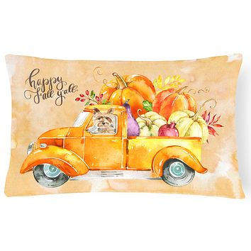 Fall Harvest Yorkshire Terrier Canvas Fabric Decorative Pillow CK2643PW1216