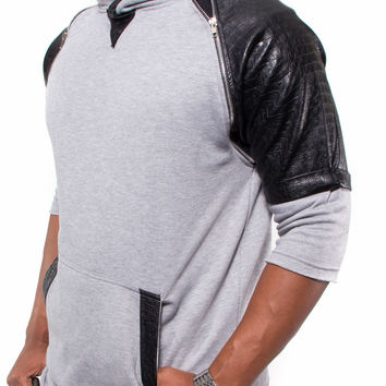 """Jeezy"" Faux Leather Alligator Crocodile Zipper Short Sleeve Fleece Hoodie (Grey)"