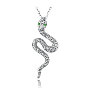 Sterling Silver Created Green Quartz & Diamond Accent Snake Necklace