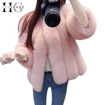 HEE GRAND 2018 Women Winter Faux Fur Coat Fake Fox Mink Fur Outwear Solid Thick Warm Luxury Coats WWC147