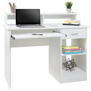 best choice products computer desk home laptop table college home office furniture work station white
