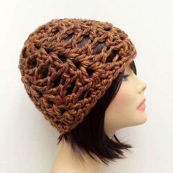 FREE SHIPPING - Crochet Chunky Beanie Hat - Speckled, Brown, Tan, Gold, Red, Maroon