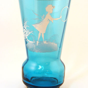 Mary Gregory Style Teal Blue Bohemian Glass Vase Girl with Hoop Turquoise