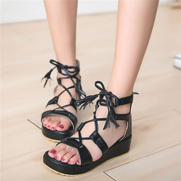 eb595f7187dd Tie Up Platform Shoes Gladiator Sandals 2179