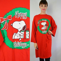 Ugly Christmas Sweater Nightgown Shirt Vintage 80s 90s Snoopy Cartoon Peanuts Womens Sleep Shirt Red Wreath Dog Animal Tacky Xmas Retro