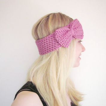 Crochet Bow Ear Warmer Headband in Cool Pink