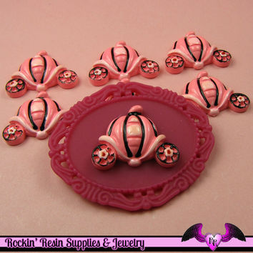 4 pcs Pink Pumpkin Carriage Resin Flatback Decoden Kawaii Cabochon