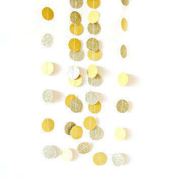 Gold glitter circle garland - gold glitter garland, gold shimmer garland, glitter circle garland, gold glitter wedding, party decor,