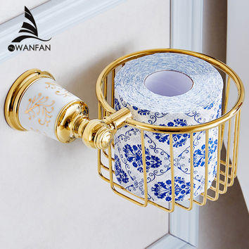 High-Grade Golden Bathroom Ceramic Style Bathroom Toilet Roll Paper Basket Wall Mounted Paper Holder 87316
