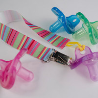 Pacifier Clip, Hot Pink, Lime Green, Yellow and Blue, Gender Neutral Soothie Clip, Gumdrop, Nuk, Mam, Avent, Girl, Pacifier Holder
