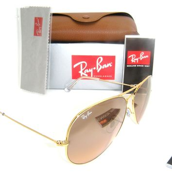 Ray-Ban Aviator Gold Frame w/ Pink Silver Mirror RB 3025 001/3E 62mm Large